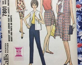 McCall's 7801 COMPLETE vintage pattern copyright 1965 Size 16/36 Dress, Jacket, Blouse, Skirt, Shorts