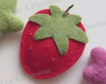 Felt hair clip -No slip -wool felt -British strawberry -red