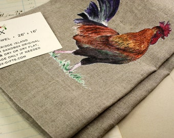 ONLY 1 LEFT! Rooster Natural Linen Tea Towel Kitchen Towel with Watercolor Prints Sandbox Original Dish Towel Dishtowel