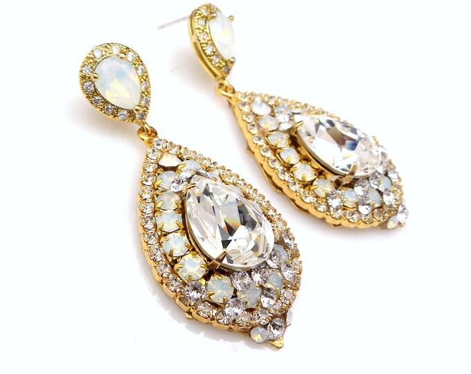 wedding jewelry bridal bridesmaid gift prom party gold teardrop cubic zirconia swarovski white opal crystal fancy rhinestone post earrings