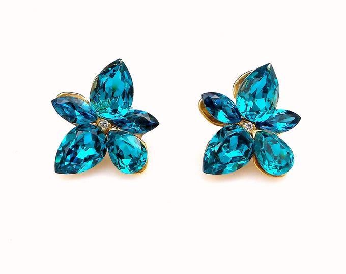 christmas prom bridal wedding bridesmaid gift Swarovski blue zircon indicolite multi shape flower crystal rhinestone gold stud post earrings