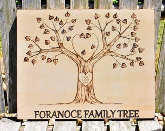 Family Tree, Wood Burned, Rustic