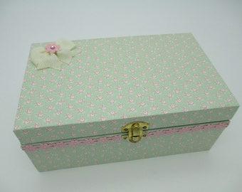 Girl  Keepsake Box - Wooden Keepsake Box- Wooden Memory Box- Pink- Green- Birthday Letters - 1st. Birthday -Time Capsule
