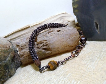 Tiger Eye Antique Copper Viking Knit Bracelet size 6 1/2 - 7 1/2