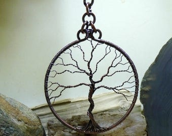 Large Antique Copper Tree of Life Sun Catcher Window Tree Ornament