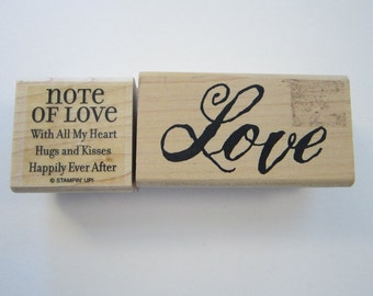 2 rubber stamps - LOVE and Note of Love - used rubber stamps