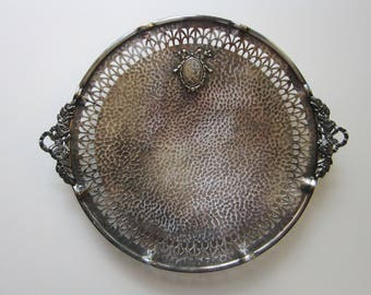 vintage silver plated tray - hammered finish, pierced tray, footed tray - bow handles