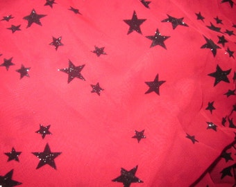 destash 3 1/2 yards of 58 inch chiffon with black embossed stars