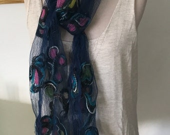 Handmade Pressed Silk Scarf Dark Blue With Multi Colors. 100% Silk Holiday Accessories Head Wrap Indigo Long Style Bohemian Gifts Under 30