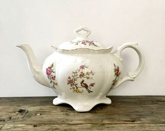 Old Foley Teapot with Floral and Bird Design