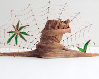 Wire Spider Web On Driftwood Desktop Structure Stained Glass Leaves on Wire Web Unique One of a Kind Nature Prop Rustic