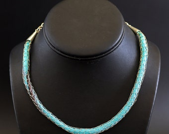Sterling Silver Wire Knit Necklace with Silk Ribbon