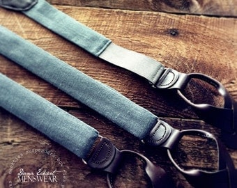 c h a r c o a l. linen | leather button-on suspenders