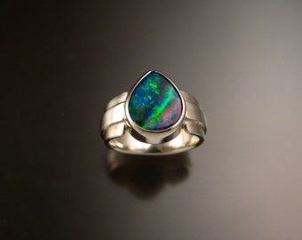 Opal ring blue Pear shaped bezel set stone Ring handmade size 6 sterling Silver Ring
