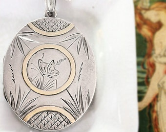 Antique Victorian 1881 Sterling Silver Locket Necklace, Large Oval Butterfly Picture Pendant with Gold Accents - Aesthetic Movement