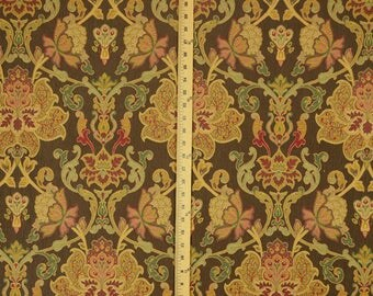 Daciana Walnut Brown Green Red Damask Upholstery Fabric