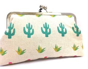 clutch purse - cactus- cacti - green - flowers - 8 inch metal frame clutch purse - large purse - kisslock - coin purse - clutch bag