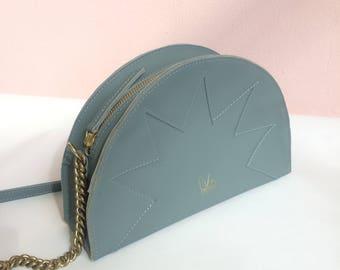 La Lisette // Demi circle bag, Blue Leather bag, zig zag, shoulder bag, Pale Blue, Grey blue, denim blue