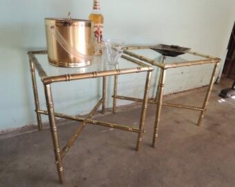 HOLLYWOOD REGENCY Pair of Bamboo Metal Tables