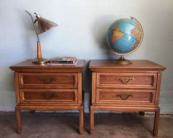 MID CENTURY MODERN Pair of Chinoiserie Style Nightstands