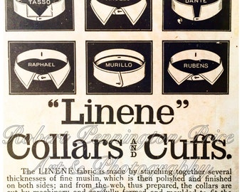 "Collars and Cuffs Advertising Print / Circa 1880's / 8"" X 8"""