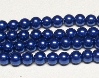 8mm Navy-02 Glass Pearl Beads-NEW COLOR!-16 inch strand of Navy Glass Pearls