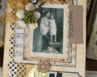 Birthday card for Mom shabby Chic card with box gift for mom mixed media vintage style paper art victorian card vintage photo mother child