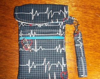 "Blue ""EKG"" pattern ""nursing"" Cell Phone Case/Wristlet"