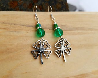 Green 4 Leaf Clover Sterling Silver Earrings, Clover Sterling Earrings, Irish Clover Green Sterling Silver Earrings, Shamrock Earrings