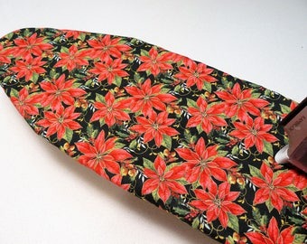 Ironing Board Cover TABLE TOP - red poinsietta with bright green leaves on black