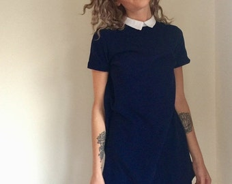 ON SALE vintage navy mini dress / dark blue lolita schoolgirl / wednesday adams / mia farrow / 1960s 60s style