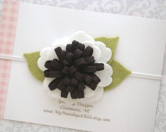 Black and White Baby Headband, Felt Flower Headband, Baby Flower Headband, Baby Headband, Felt Headband, Newborn Headband, Toddler Headband