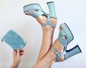 Vintage Pale Blue Iridescent Sparkle Heels with Matching Purse in Box // Size 8 // 1980s
