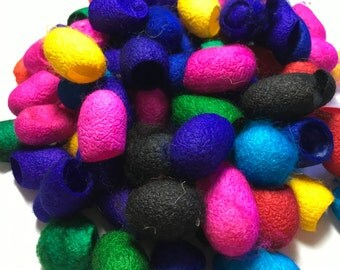 Dyed Mulberry Silk Cocoons, lot of 100 pieces, mixed colors
