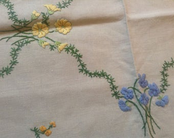 SALE Vintage Hand Embroidered Tray Cloth 1940s
