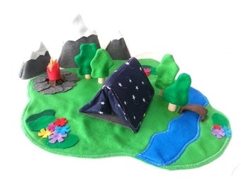 The Great Outdoors Camping Play Set - Star Tent - Woodland Forest Camping Set  - Felt  Play Set - Felt Toy - Unique Gift - Zooble