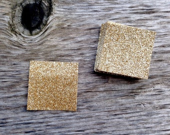 """20 Gold, Rose Gold or Silver Glitter Tags Invitation Card Embellishments 1.5"""" - Great for gifts or Belly Bands"""
