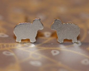 Sterling silver tiny sheep earrings