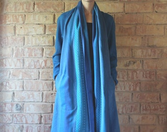 Bright blue striped wool oversized jacket, cardigan, coat, with side pockets, size M, upcycled from vintage textile leftovers