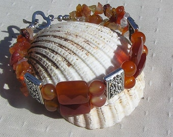 "Red Agate & Orange Carnelian Gemstone Crystal Bracelet ""A Touch of Sass"", Orange Bracelet, Chakra Bracelet, Virgo Bracelet, Agate Bracelet"