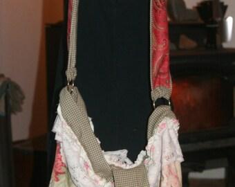 Large Shabby Cottage Chic Shoulder Bag from Rose Pattern Linen