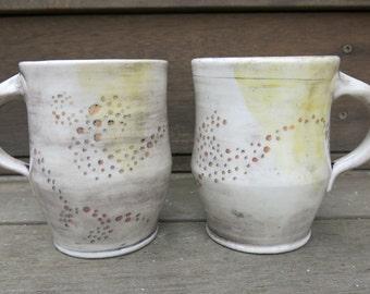 Handmade Ceramic Mug, Coffee Mug, Pottery Mug, Tea Mug, Hand Drawn Dots One of a Kind Cup Rustic, Artisan Pottery by Licia Lucas Pfadt