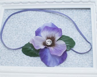 Purple Pansy Silk Flower Headband, Purple Pansy Hair Clips, Pansy Headband, Pansy Bow Clip or Headband