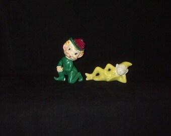 LOT Vintage Japan Christmas Ceramic Elf Pixie Gnome Dwarf Figurines