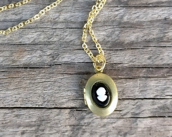 tiny vintage locket necklace | cameo cabochon | black and white 1950s Japan cabochon