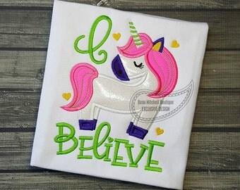 I Believe Unicorn applique