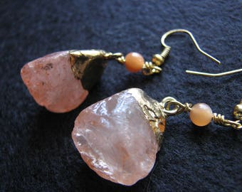 Peach earrings | rock crystal | stone | moonstone bead | gold dangle | for her | nugget