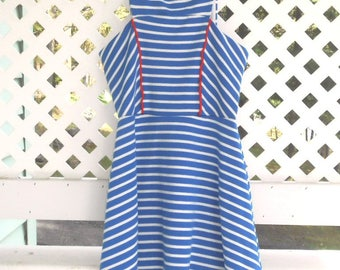 Red White And Blue Sleeveless Dress Girls Striped Dress Sleeveless Summer Dress 70's Girls Dresses Vintage Dress