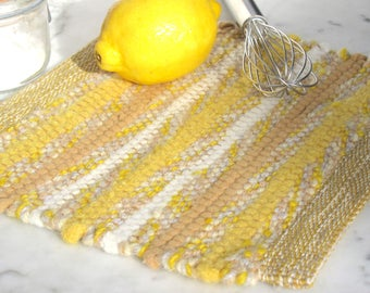 Zesty Lemon Yellow Shaker Style Gourmet Kitchen Pot Holder, Rustic Cabin Country Cottage Farmhouse Home Decor, Hand Woven Recycled Wool Rag