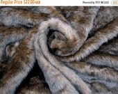 """2016 SALE A Piece of 1"""" Pile Brown Faux Wolf Fur for Sewing Crafts Fur Pillow Dolls Home Decor Fabric #13"""